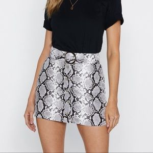 Let Me Snake You Out Faux Leather Skirt